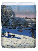 Sledging Near Youlgreave Duvet Cover by Andrew Macara