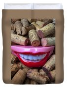 Smile Among Wine Corks Duvet Cover by Garry Gay