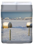 Snow Covered Hay Bales In A Snow Duvet Cover by Michael Interisano