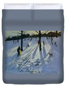 Snow Rykneld Park Derby Duvet Cover by Andrew Macara