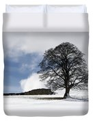 Snowy Field And Tree Duvet Cover by John Short