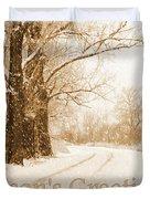 Soft Sepia Season's Greetings Card Duvet Cover by Carol Groenen