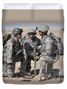 Soldiers Discuss A Strategic Plane Duvet Cover by Stocktrek Images