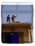 Soldiers Discuss The New Iraqi Police Duvet Cover by Stocktrek Images