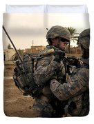 Soldiers Help One Another Duvet Cover by Stocktrek Images