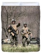 Soldiers Perform A Site Survey In Camp Duvet Cover by Stocktrek Images
