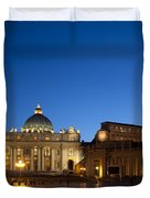 St. Peter's Basilica at Night Duvet Cover by David Smith