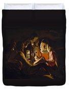 St. Sebastian Tended By Irene Duvet Cover by Georges de la Tour