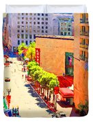 Stockton Street San Francisco . View Towards Union Square Duvet Cover by Wingsdomain Art and Photography