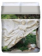 Stone Carving Of Nike Duvet Cover by Mark Greenberg