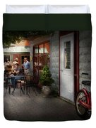 Storefront - Frenchtown Nj - At A Quaint Bistro  Duvet Cover by Mike Savad