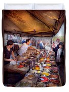 Storefront - The Open Air Tea And Spice Market  Duvet Cover by Mike Savad