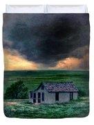 Storm Over Abandoned House Duvet Cover by Jill Battaglia