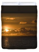 Sun Setting On The Ocean With The Duvet Cover by Michael Interisano