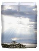 Sunlight Shines Down Through The Clouds Duvet Cover by David DuChemin