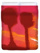 Sunset abstract trees Duvet Cover by Pixel Chimp