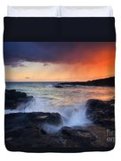 Sunset Storm Passing Duvet Cover by Mike  Dawson