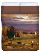 Sunshine After Storm Or Sunset Duvet Cover by George Snr Inness