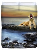 Surreal lioness Duvet Cover by Carlos Caetano