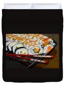 Sushi And Chopsticks Duvet Cover by Carolyn Marshall