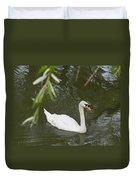 Swan Enjoying A Swim Duvet Cover by Corinne Elizabeth Cowherd