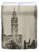 Swann Memorial Fountain in Sepia Duvet Cover by Bill Cannon