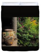 Temple And Garden Urn, The Wild Garden Duvet Cover by The Irish Image Collection