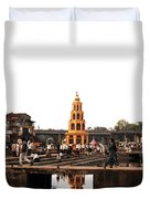 temple and the river in India Duvet Cover by Sumit Mehndiratta
