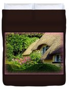 Thatched Cottage With Pink Flowers Duvet Cover by Carla Parris