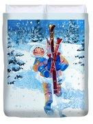 The Aerial Skier - 3 Duvet Cover by Hanne Lore Koehler