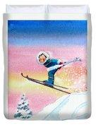 The Aerial Skier - 7 Duvet Cover by Hanne Lore Koehler