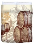 The Best Vintage Wine Duvet Cover by Cheryl Young