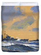 The British Cruisers Hms Exeter And Hms York Duvet Cover by John S Smith