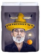 The Competitive Sombrero Couple 2 Duvet Cover by Leah Saulnier The Painting Maniac