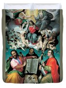 The Coronation Of The Virgin With Saints Luke Dominic And John The Evangelist Duvet Cover by Bartolomeo Passarotti
