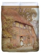 The Cottage With Beehives Duvet Cover by Helen Allingham