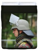 The Helmet And Visor Used Duvet Cover by Luc De Jaeger