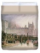 The Houses Of Parliament In Course Of Erection Duvet Cover by John Wilson Carmichael