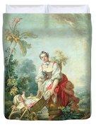 The Joys Of Motherhood Duvet Cover by Jean-Honore Fragonard