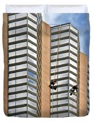 The Loneliness Of The Skyscraper Window Cleaner Duvet Cover by Christine Till