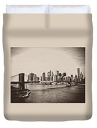 The New York City Skyline And The Brooklyn Bridge Duvet Cover by Vivienne Gucwa