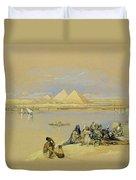 The Pyramids At Giza Near Cairo Duvet Cover by David Roberts