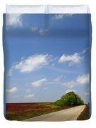 The Road Ahead Is Lined In Red Duvet Cover by Kathy Clark