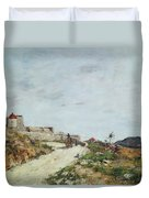 The Road To The Citadel At Villefranche Duvet Cover by Eugene Louis Boudin