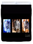 The Three Zebras Black Borders Duvet Cover by Rebecca Margraf