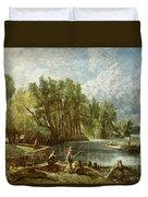 The Young Waltonians - Stratford Mill Duvet Cover by John Constable
