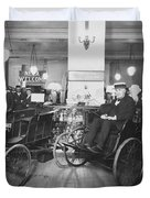 Thomas Edison In Quadricycle Duvet Cover by Photo Researchers