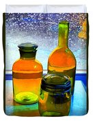 Three Bottles In Window Duvet Cover by Dale   Ford