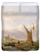 Tilbury Fort - Wind Against the Tide Duvet Cover by William Clarkson Stanfield