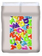 Toy Letters Duvet Cover by Carlos Caetano